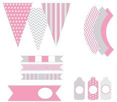 Lindo Kit en Rosa y Gris para Imprimir Gratis.   Oh My Primera Comunión!