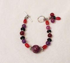 Agate Jewelry, Purple Dragon Vein Agate, Red Agate, Carnelian, Black Onyx, Handmade Dangle Bracelet, Multicolor Natural Gem Dangle Bracelet by DesignDimensions on Etsy