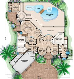 Mediterranean Style House Plan - 5 Beds 5 Baths 7760 Sq/Ft Plan #27-472 Floor Plan - Main Floor Plan - Houseplans.com