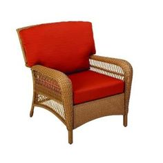 Martha Living Charlottetown Natural All Weather Wicker Patio Lounge Chair With Quarry Red Cushion
