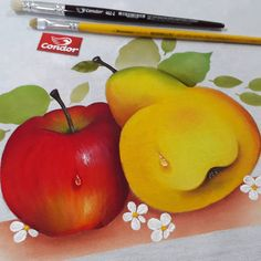 Orange, Fruit, Flowers, Painting, Dish Towels, Fruit Designs, Ribbon Crafts, Fruit Painting, Picture On Wood