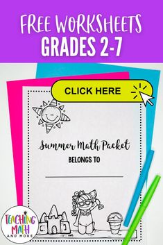 Are your students ready for Summer? Stop the Summer Slide and send home this fun Summer Math Packet Project with your kids. Students will engage in math puzzles, printables, and worksheets to keep up their math skills. Perfect for grades 2, 3, 4, 5, 6, 7. Grab your grade level Summer Math Activities today! 3rd Grade Classroom, 5th Grade Math, Math Skills, Math Lessons, Math Worksheets, Math Activities, Summer Slide, Math Intervention, Math Projects