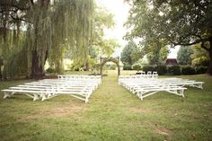 White Benches And Weeping Willows For An Outdoor Ceremony In Sundara Roanoke Virginia