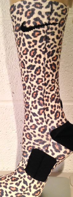Cheetah Full Custom Nike Elite Socks by DopeSocksAndStuff on Etsy. MG