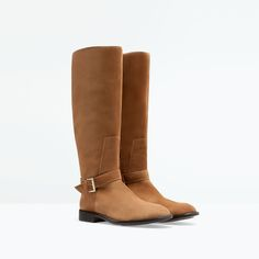 BUCKLED FLAT LEATHER BOOT-Shoes & Bags-Pre-Sale-WOMAN | ZARA United States
