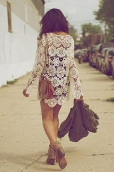 Bell sleeved crochet dress paired with fringed tan suede booties and crossbody. Vintage boho chic.