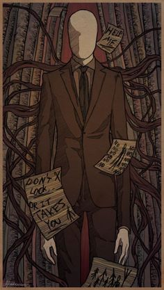 Slenderman is the very first creepypasta I heard about by my Stepsis. She knows nothing about CreepyPasta, but she knows about Slender. First time I heard of him, I literally shook in my bed that night(We were camping)! Horror Art, Horror Movies, Creepypasta Slenderman, Creepy Pasta Family, Laughing Jack, Slender Man, Jeff The Killer, Fanart, Dark Fantasy Art