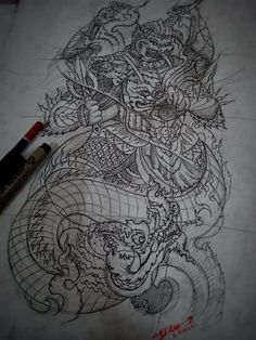 Khmer Tattoo, Samurai Tattoo, Thai Art, Dragons, Tattoo Designs, Abstract, Tattoos, Artwork, Painting