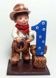Cutie Cowboy Cake Topper Keepsake Figurine by HandcraftedCuties, $50.00
