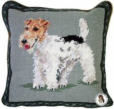 Wire Fox Terrier Dog Needlepoint Throw Pillow