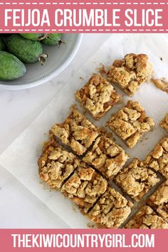 This Feijoa Crumble Slice is the perfect way to celebrate feijoa season! It's a quick easy slice with an oaty base, feijoa filling and a crumble topping that's perfect served as a warm dessert or as a lunchbox snack! Fejoa Recipes, Kiwi Recipes, Sweet Recipes, Baking Recipes, Dessert Recipes, Desserts, Baking Ideas, Recipies, Healthy Recipes