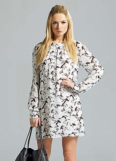 French Connection Horse Print Chiffon Dress - Raglan sleeve chiffon smock dress with long, sheer sleeves. Round neck with gathers creating volume with exposed centre back zip. Lined. £130.