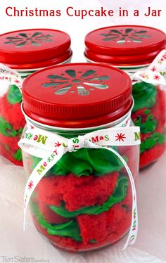 Our colorful Christmas Cupcake in a Jar is festive, easy to make and delicious. They will wow as either Christmas  Desserts for a holiday party or a unique Christmas gift for a friend, neighbor or co-worker. For more Christmas Treats follow us at http://www.pinterest.com/2SistersCraft/