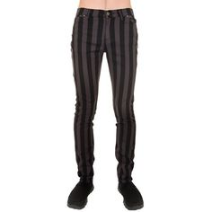 Mens Indie Vintage Retro 60s 70s Mod Black Grey Striped Stretch Skinny... ($45) ❤ liked on Polyvore featuring men's fashion, men's clothing, men's jeans, mens skinny fit jeans, mens stretch skinny jeans, mens super skinny stretch jeans, mens striped jeans and mens jeans