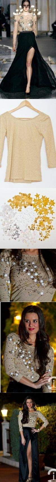 DIY Crimenes de la Moda - Jason Wu inspired top - party look - top de fiesta - gold - dorado - evening outfit