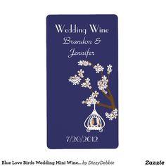 Blue Love Birds Wedding Mini Wine Labels