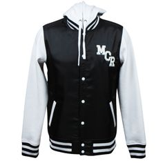 Can I have this? Now? Yes? Okay.    My Chemical Romance Official Store - school sucks, start a band. hooded varsity jacket - Apparel