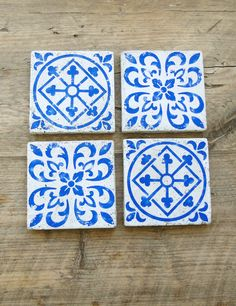 Add A Decorative Touch With These Concrete Blue Tile Coasters Available In Two Moroccan Inspired