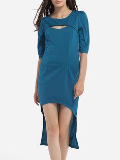 Asymmetrical Hems Round Neck Cotton Hollow Out Plain Bodycon Dress