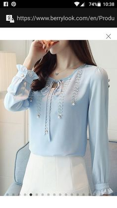 Blouses for women – Lady Dress Designs New Blouse Designs, Dress Neck Designs, Chiffon Shirt, Chiffon Tops, Abaya Fashion, Fashion Dresses, How To Wear Blazers, Moda Chic, Blouse Styles