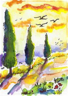 ACEO Painting Tuscan Summer Glow Ginette by GinetteFineArt on Etsy, $149.00