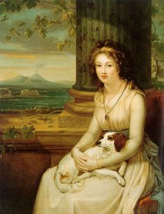 Elizabeth Lady Webster, later Lady Holland, with her spaniel, on the Grand Tour 1793 byRobert Fagan