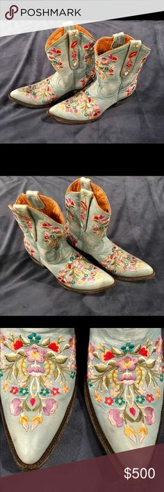 🤠 NWOT Old Gringo Teal Embroidery Cowboy Boots Rustic Teal, Embroidery all around. Beautiful Cowboy Boots. Ordered a half size too small from Sundance. NWOT, never worn.  8.5 M. Old Gringo Shoes Ankle Boots & Booties