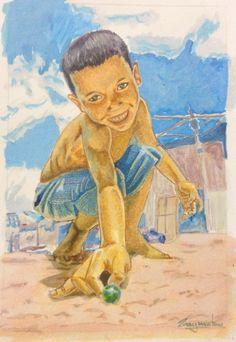 Brincadeira de criança - Bolinha de Gude.  nanquim sobre papel.  15 x 10 cm
