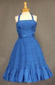 Will Steinman Marine Blue Smocked Taffeta 1950's Cocktail Dress