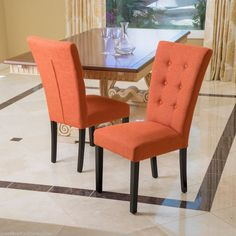 Set Of 2 Deep Orange Button Tufted Fabric Dining Chairs