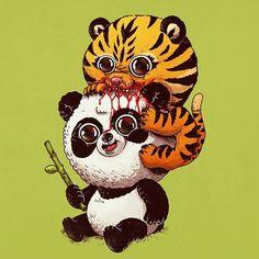 Tiger & Panda #adorablecircleoflife Predator & Prey by alexmdc