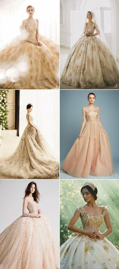 6 Unexpectedly Beautiful Wedding Dress Color Trends We Love - Champagne Gold