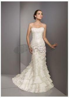 Raso in rilievo una linea di abiti da sposa 2012 senza spalline