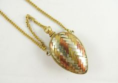 ANTIQUE BRASS COPPER SILVER GOLD METAL PERFUME PENDANT TRI-COLOR WEAVE ORNATE