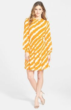 MICHAEL Michael Kors 'Bembizi' Print Smocked Dress #yellow Fit N Flare Dress, Fit And Flare, Yellow Fashion, Nordstrom Dresses, Everyday Fashion, Smocking, Spring Fashion, Dressing, Michael Kors