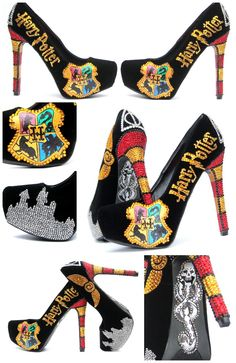 These heels are inspired by the young wizard, Harry Potter, and his friends Ronald Weasley and Hermione Granger, all of whom are students at Hogwarts School of Witchcraft and Wizardry. Harry's quest to overcome the Dark wizard Lord Voldemort, who aims to become immortal, conquer the wizarding wor...