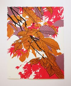 Autumn Leaves Pink Screenprint by Fiona Hamilton £40.00
