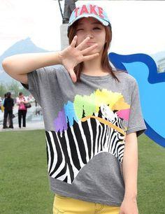 $6.26 Korea Stylish 2 Colors Zebra Loosen Cotton Tees