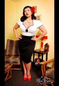 Troublemaker Dress in Black and White by Deadly Dames - In Plus Size