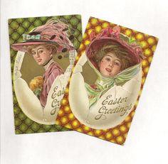 Pair Elegant Ladies in Easter Eggs Fashion by TheOldBarnDoor