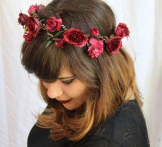 Coroa de Flores Bordô - G.Offer / flower crown