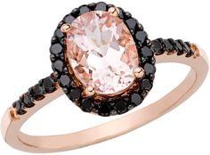 1 1/2 Carat Morganite and Black Diamond 14K Pink Gold Ring - Polyvore