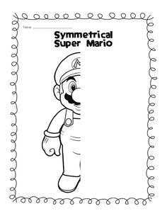 Mirror images: Super Mario, Butterflies and teddy bear Symmetry Worksheets, Symmetry Activities, Art Worksheets, Math Activities, Fun Worksheets For Kids, Mario E Luigi, Symmetry Art, Early Finishers Activities, Math Art