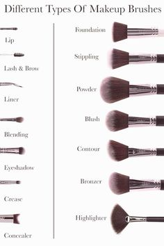 Best Makeup Brushes, Best Makeup Products, Beauty Brushes, Cosmetic Brushes, Natural Eyeliner, Natural Makeup, Cute Makeup Looks, Everyday Makeup Routine, Types Of Makeup