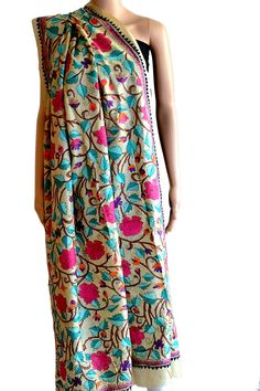 Another scintillating #dupatta in pure #Mulberry #Silk. #Kantha work in Blue and pink makes this #dupatta look beautiful and enchanting. USD 70 (#Fabrics of #India - www.facebook.com/fabricsofindia2013)