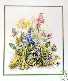 Lanarte Counted Cross Stitch Kit Summer Flowers 34318 Life Style Collection Iris Yellow Pink Blue Butterfly Garden Cotton DMC