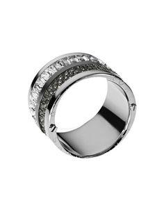 Michael Kors Multi-Stone Pave Barrel Ring, Silver Color.