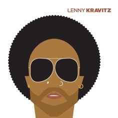 Lenny Kravitz retratos vectoriales de Jag Nagra