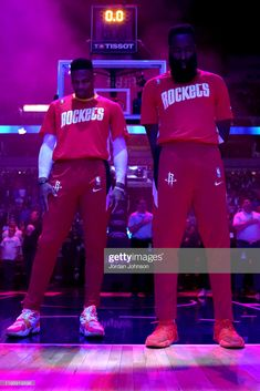 Russell Westbrook #0 of the Houston Rockets and James Harden #13 of the Houston Rockets stand for the National Anthem before a game against the Minnesota Timberwolves on January 24, 2020 at Target Center in Minneapolis, Minnesota.