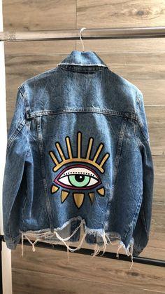 Jean Jacket Design, Bridal Blouse Designs, Painted Clothes, Curvy Outfits, Gigi Hadid, Diy Clothes, Creations, Denim, Jackets
